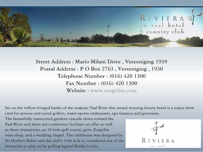 Riviera On Vaal Hotel